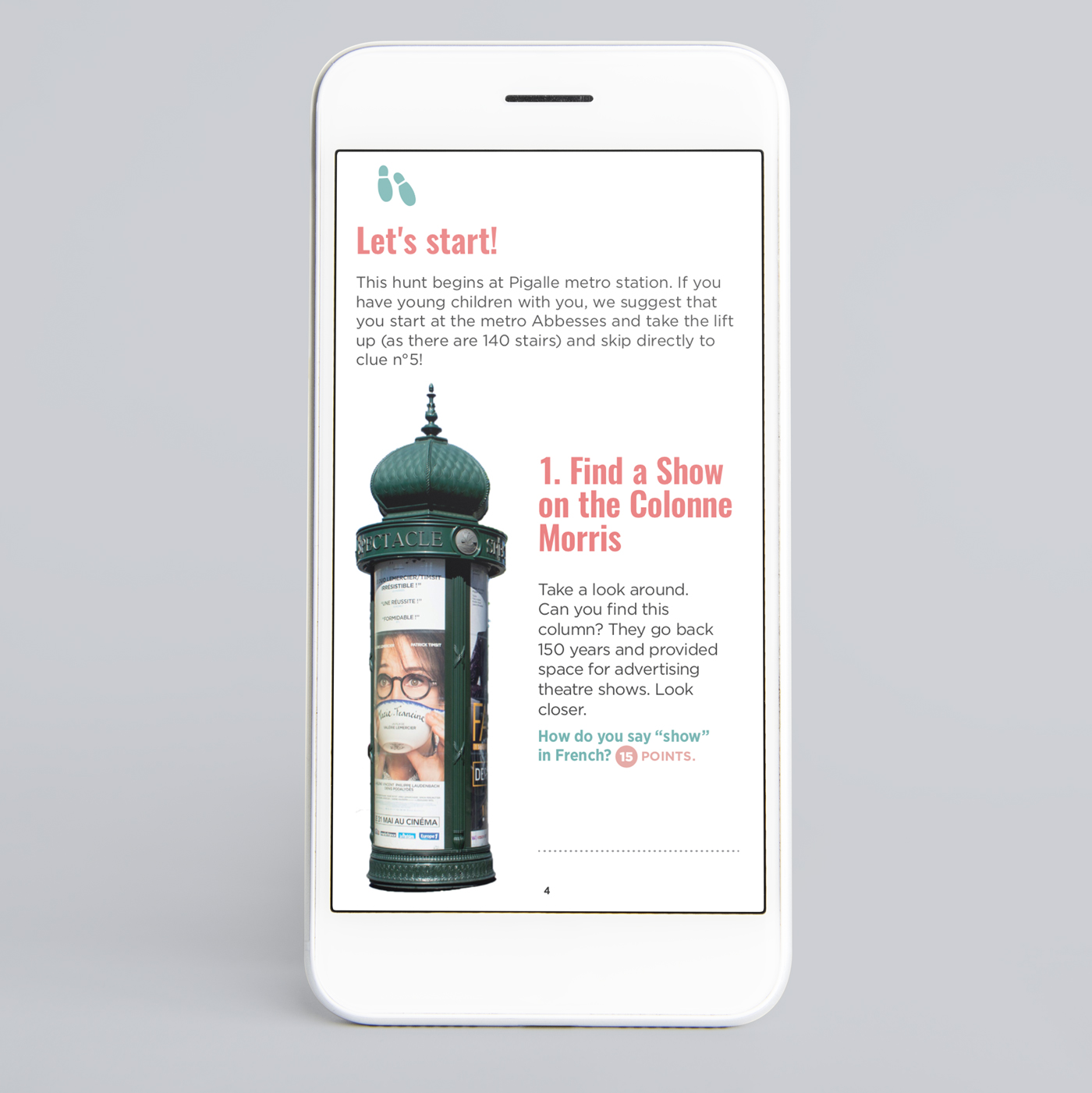 Sample page treasure hunt in Montmartre Paris smartphone version