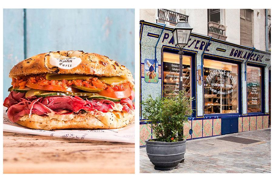Le sandwich au pastrami, et l'extérieur de la boutique de Florence Kahn (c) Delphine Constantini